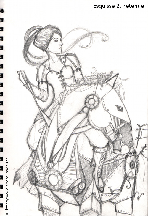 Le cheval de fer, esquisse - Diane Rousseau