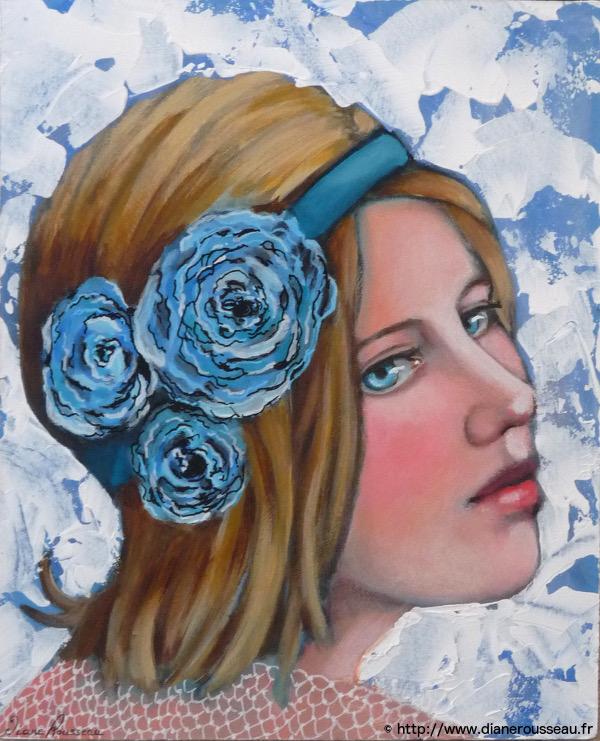 portrait, acrylique, portrait féminin, diane rousseau, peinture