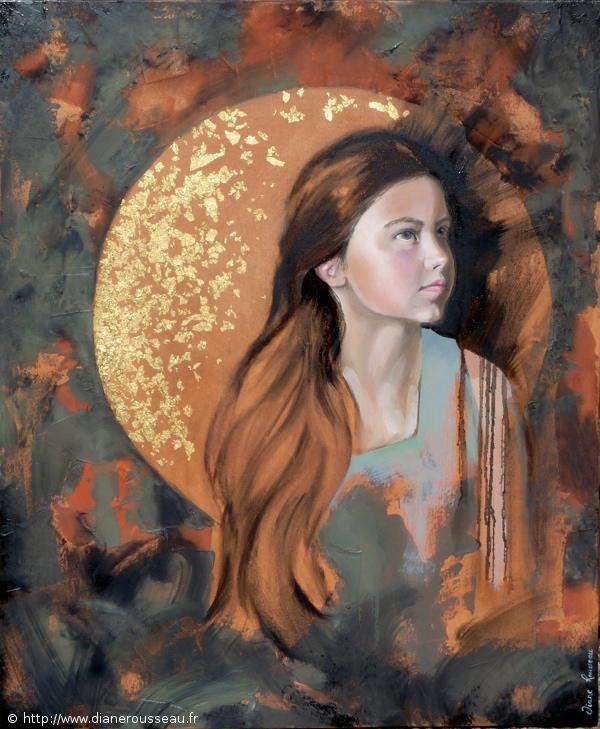 Diane Rousseau, peinture, huile, portrait, enfant, symbolisme, madone, espérance, icône, imaginaire