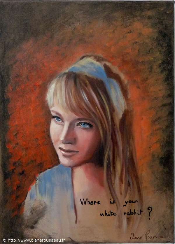 Aetern'Alice, Diane Rousseau, Aeternalis, portrait, peinture, Alice au pays des Merveilles, huile, alla prima