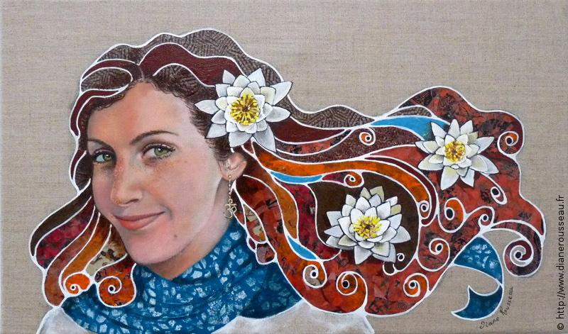 portrait sur commande, portrait femme, fleurs, lotus, ohm, technique mixte, Diane Rousseau