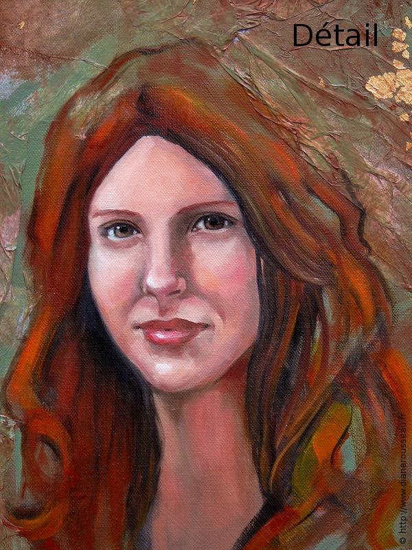 Diane Rousseau, peinture, huile, portrait, mythologie, symbolisme, Danae, imaginaire