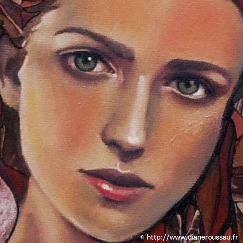 fleur de givre, portrait, technique mixte, diane rousseau, art, acrylique