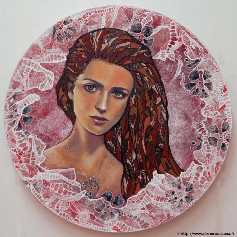 technique mixte, portrait, diane rousseau, art, peinture