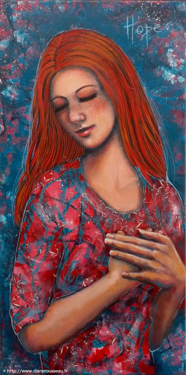 Hope, Diane Rousseau, peinture technique mixte