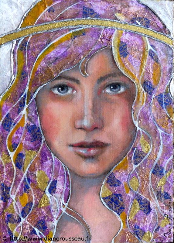 icone,améthyste, peinture acrylique, portrait femme, technique mixte, collage, Diane Rousseau