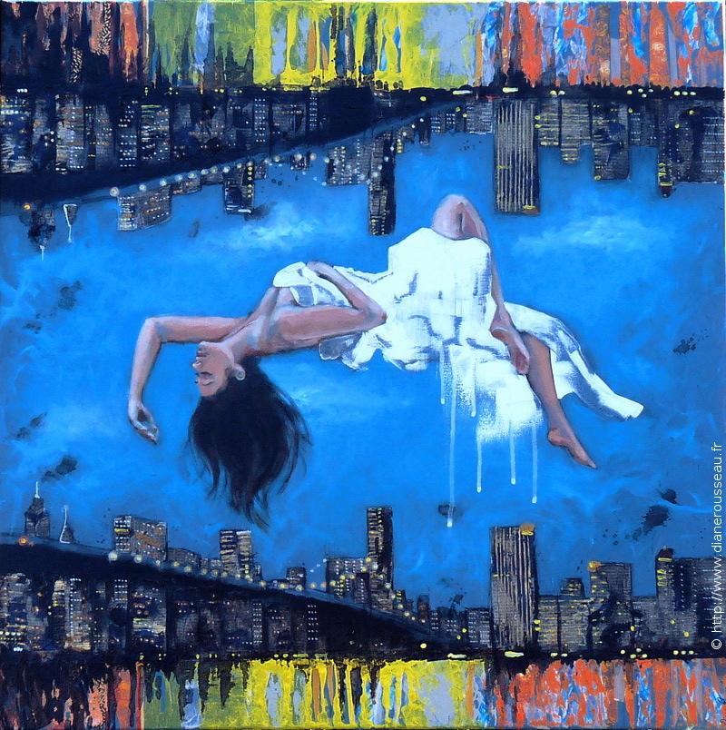 entremonde, peinture acrylique, technique mixte, métaphysique, spiritualité, collage, Diane Rousseau