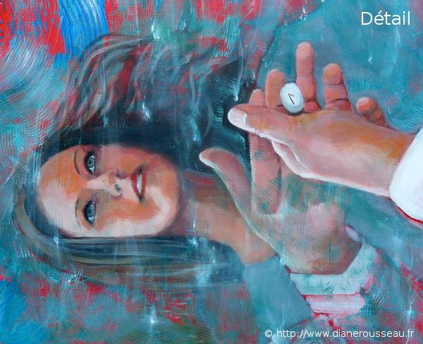 L'oracle de l'eau, Diane Rousseau, peinture, acrylique, élément eau, art visionnaire, runes, symbolisme, imaginaire