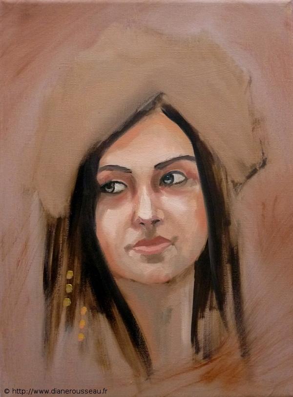 chamane, portrait, femme, huile, alla prima, spiritualité, chamanisme, diane rousseau, aeternalis