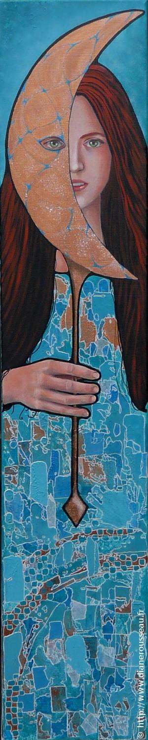 La lune du matin, Diane Rousseau, portrait, femme, acrylique, huile, peinture, cosmique, art visionnaire, art contemporain, peintre fontainebleau