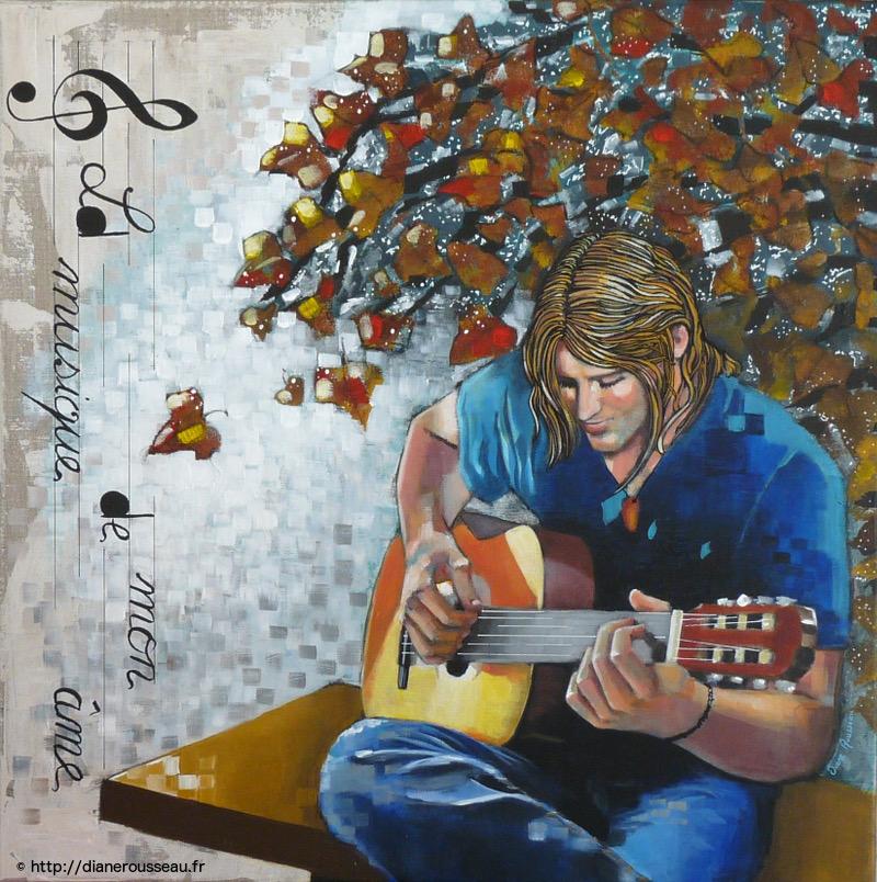 acrylique, personnage, peinture, guitare, musique, diane rousseau