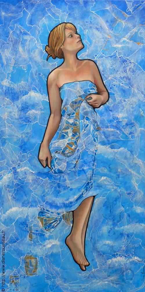 La robe du jour, Diane Rousseau, portrait, femme, acrylique, huile, peinture, cosmique, art visionnaire, art contemporaine, peintre fontainebleau
