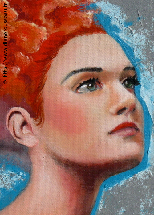 La tête dans les nuages 1, Diane Rousseau, peinture, acrylique, portrait, ciel, art visionnaire, symbolisme, cosmique, imaginaire