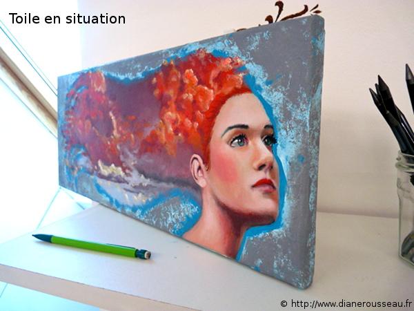 La tête dans les nuages 1, Diane Rousseau, peinture, acrylique, ciel, art visionnaire, symbolisme, cosmique, imaginaire