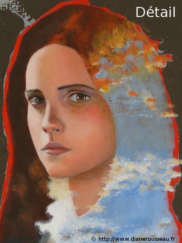 La tête dans les nuages 2, Diane Rousseau, peinture, acrylique, portrait, ciel, art visionnaire, symbolisme, cosmique, imaginaire
