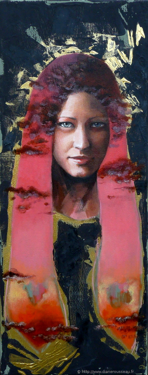 La tête dans les nuages 3, Diane Rousseau, peinture, acrylique, portrait, ciel, art visionnaire, symbolisme, cosmique, imaginaire
