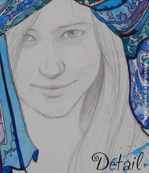 Le turban d'eau bleu - détail, Diane Rousseau