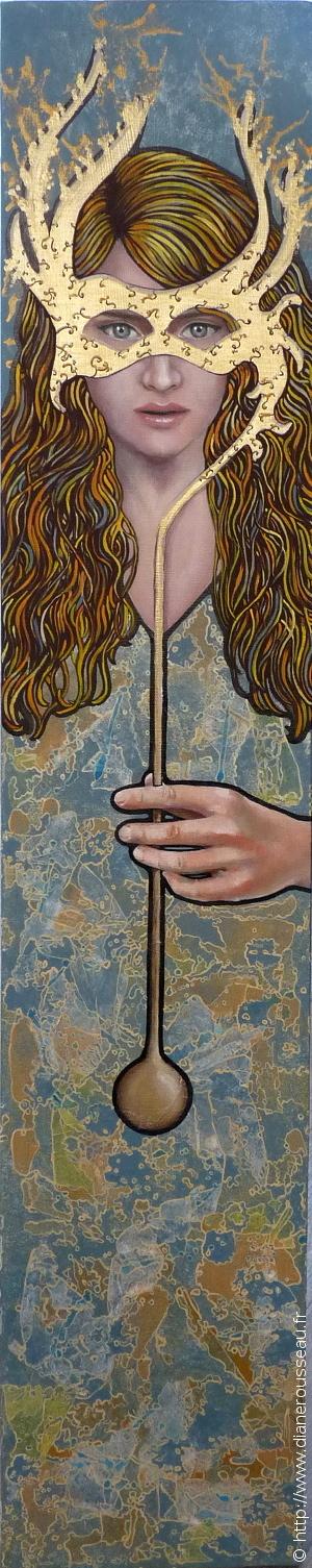 Le soleil de midi, Diane Rousseau, peinture, acrylique, portrait, femme, cosmogonies, cosmique, technique mixte