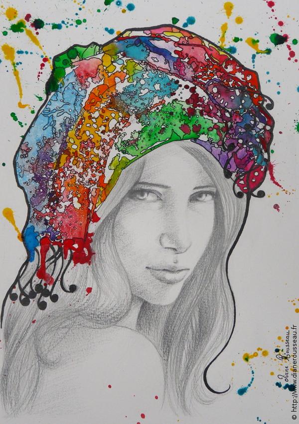 Turban d'eau prismatique, Diane Rousseau, dessin, aquarelle, portrait, femme, acrylique, huile, peinture, cosmique, art visionnaire, art contemporain, peintre fontainebleau