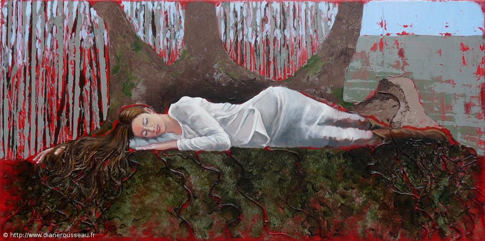 Les racines de la Terre, Diane Rousseau, peinture, acrylique, éléments, symbolisme, spiritualité, ancrage