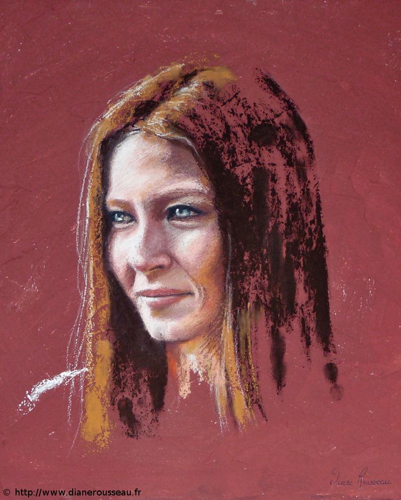 Mademoiselle M., pastel, portrait, Diane Rousseau