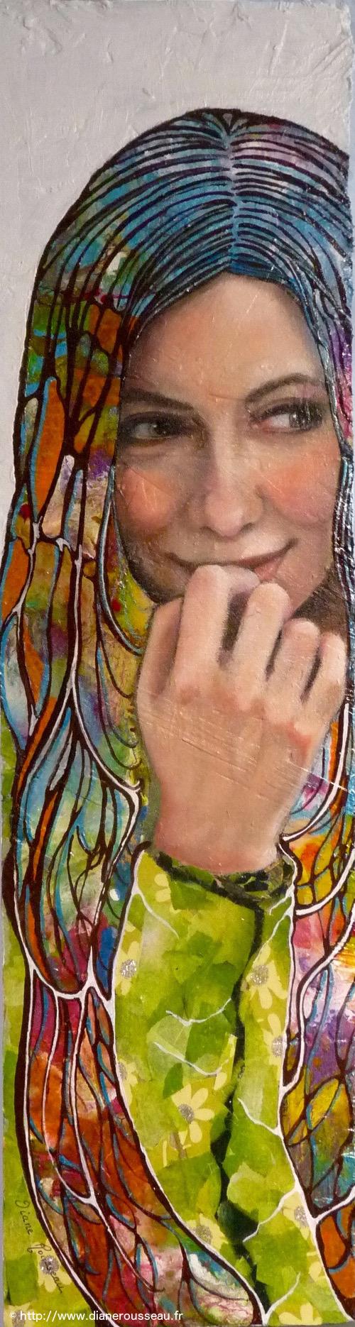 portrait femme, technique mixte, vitrail, peinture, collage, huile, acrylique, diane rousseau