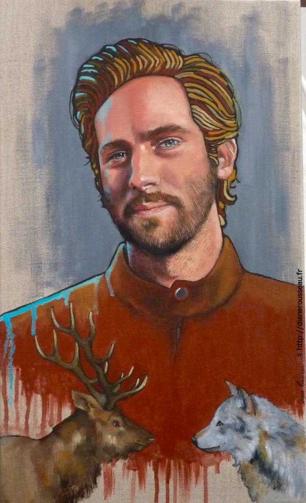 masculin sacré, portrait, homme, acrylique, art figuratif, animal totem, armie hammer, diane rousseau