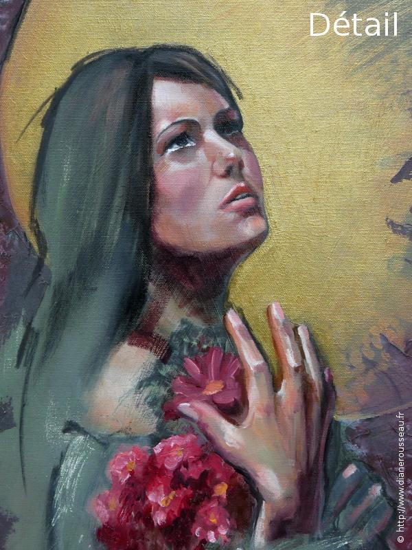 Diane Rousseau, peinture, huile, portrait, femme, mythologie, symbolisme, Perséphone, Proserpine, icône, imaginaire