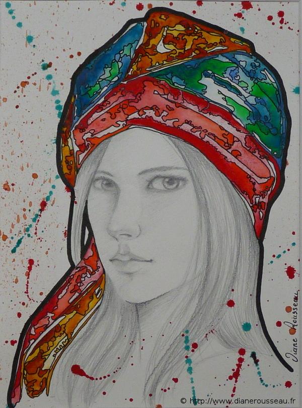 Turban Prismatic, Diane Rousseau, dessin, aquarelle, portrait, femme, peinture, art contemporain, peintre fontainebleau
