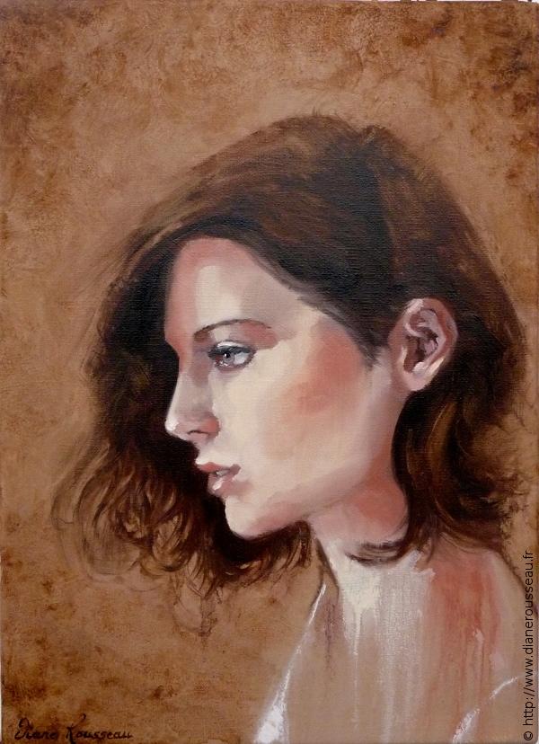 Songe, Diane Rousseau, Aeternalis, portrait, femme, peinture, huile, alla prima
