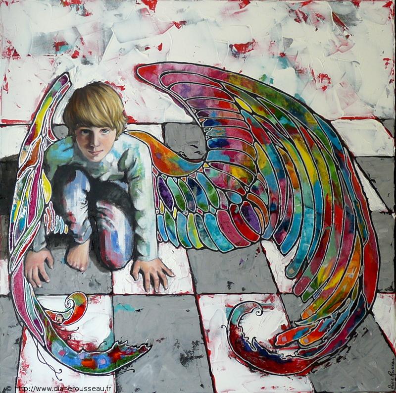 ailes, ange, lumière, technique mixte, vitrail, peinture, collage, huile, acrylique, diane rousseau