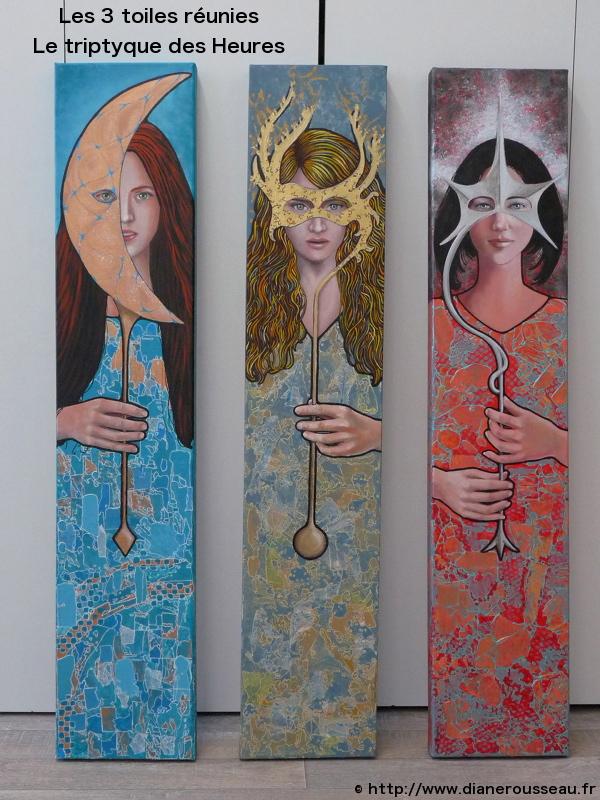 Cosmogories des Heures, Diane Rousseau, lune, soleil, étoile, acrylique, peinture, femme