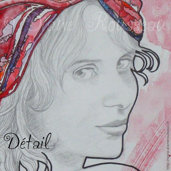 Le turban d'eau rouge, détail - Diane Rousseau