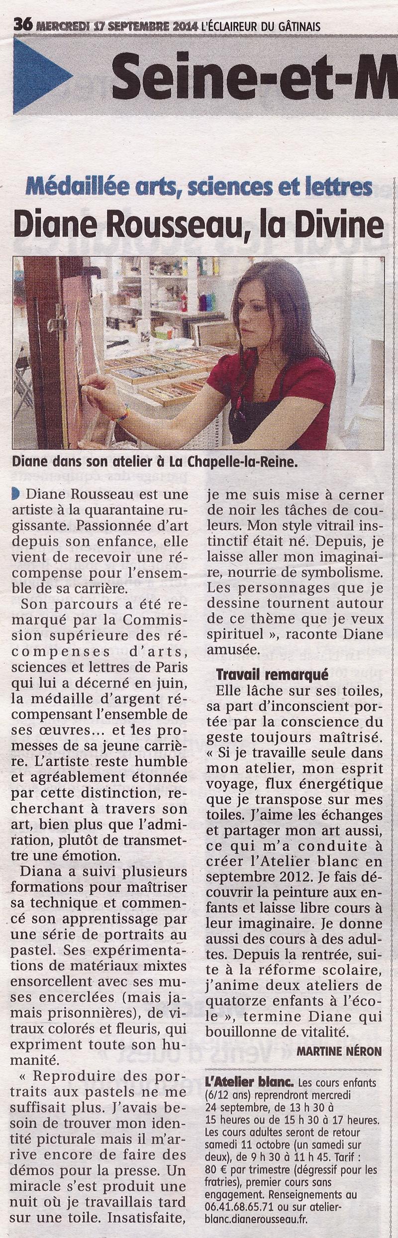 Diane Rousseau, presse, L'Eclaireur du Gâtinais, septembre 2014